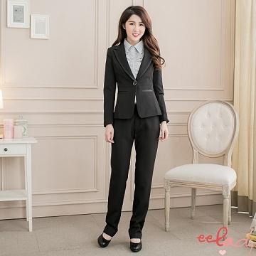 【EE-LADY】OL素面雙口袋花朵單釦西裝外套-黑色