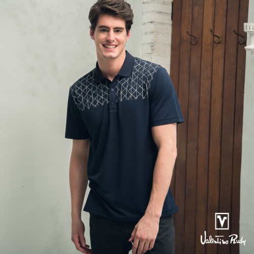 Valentino Rudy 范倫鐵諾.路迪 吸濕透氣涼爽機能Polo衫 深藍網紋