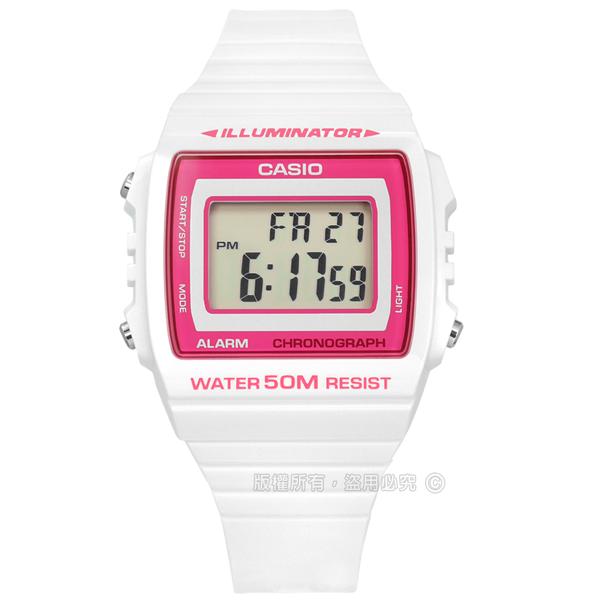 CASIO / W-215H-7A2 / 卡西歐 計時碼錶 LED照明 鬧鈴 電子數位 橡膠手錶 桃紅x白 38mm