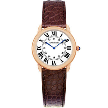 CARTIER RONDE SOLO W6701008 經典中型18K玫瑰金皮帶腕錶-36mm