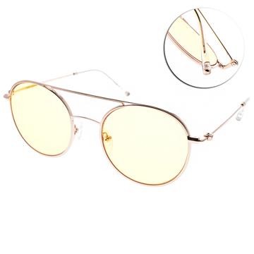 CARIN 太陽眼鏡 韓系復古風 (玫瑰金-黃鏡片) #CARRIE C2