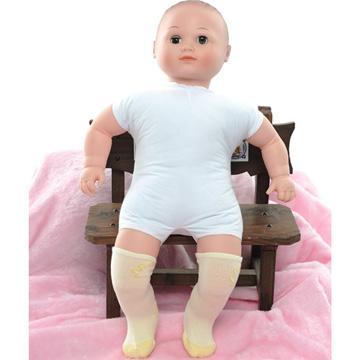 【KEROPPA】可諾帕MIT0~6個月嬰兒厚底止滑1/2短襪x3雙(淺黃配黃)95001-D