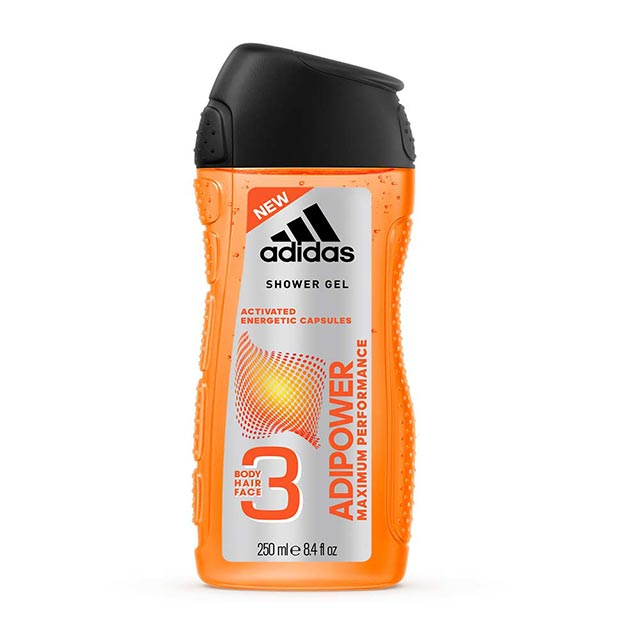 adidas愛迪達 男用三效極限動力潔顏洗髮沐浴露250ml