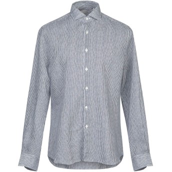 《セール開催中》XACUS メンズ シャツ ダークブルー 41 麻 100%