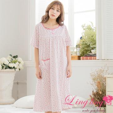 lingling A3309大尺碼-日系風格碎花棉質短袖長版連身裙睡衣(甜紅粉)
