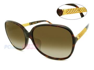 GUCCI 古馳 時尚太陽眼鏡 亞洲版 典雅簍空金屬鏡臂 GG3707/F/S 玳瑁框漸層茶鏡片
