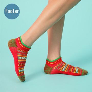 【Footer除臭襪】民族風格氣墊船短襪-女款ZH204-紅
