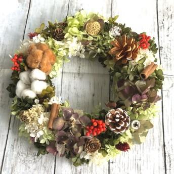 冬のグリーン紫陽花リース L size!プリザーブドフラワーリース ドライフラワーリース クリスマスリース プレゼントにも♪ ドアリース 玄関 お祝い 誕生日