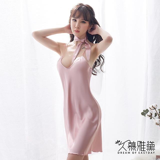 久慕雅黛 優雅簡約絲巾領結吊帶裙。粉色