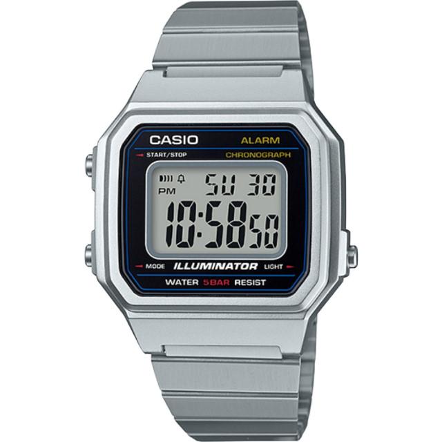 CASIO 卡西歐 文青風大型數字不鏽鋼錶 銀 B-650WD-1A