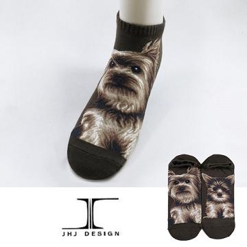 【JHJ DESIGN】可愛狗狗系列 約克夏 Yorkshire 咖啡色船襪/隱形襪/短襪/綿襪/針織襪/動物襪 男款