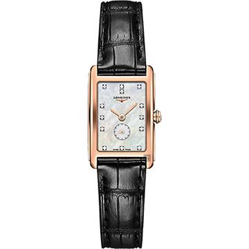 LONGINES 浪琴 DolceVita 18K 真鑽小秒針石英錶-珍珠貝x黑/20mm L52558870
