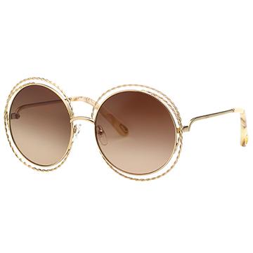 CHLOE 金屬大圓 太陽眼鏡 (金色) CE114ST