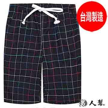 【男人幫 】吸溼快乾英倫格紋短褲(K0409)深藍色