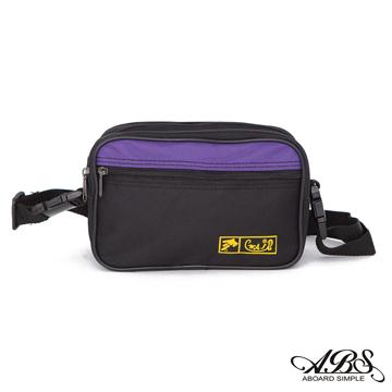WAIPU  MIT輕量防潑水兩用式腰包 側背包(黑/紫)703