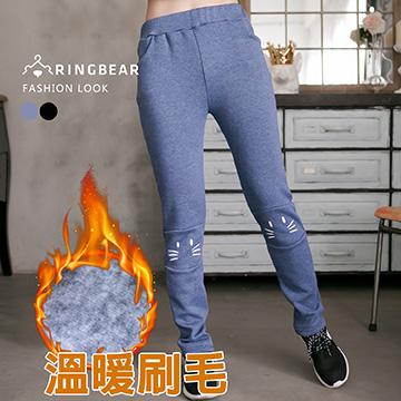 棉褲--俏皮趣味性貓咪印圖鬆緊褲頭內刷毛棉褲(黑.藍2L-5L)-P105熊衣褲語