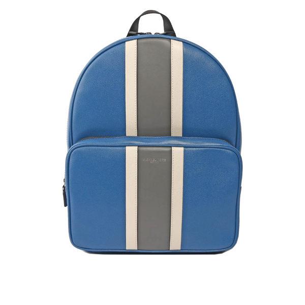 MICHAEL KORS 灰白條紋硬殼皮革後背包(大)(淺藍) 37H7LWRB3T SBL