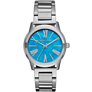MICHAEL KORS 質感羅馬時標時尚手錶 藍X銀 38mm MK3519