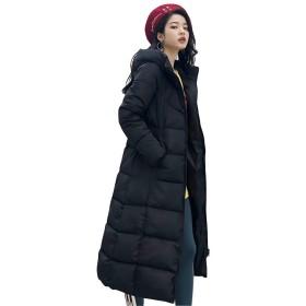 [リュハイ] レディース ダウン ロング コート 冬 厚い フード付き 防寒 無地 カジュアル ファッション ダウンコート ブラック3XL