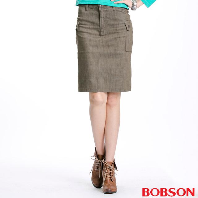 【BOBSON】女款貼袋伸縮短裙(D063-41)