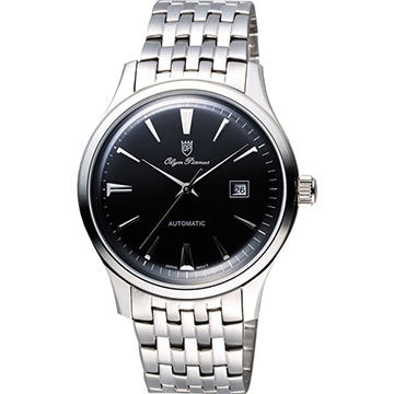 Olympianus 奧柏 尊爵復刻時尚機械腕錶-黑x銀/39mm 990-14AMS