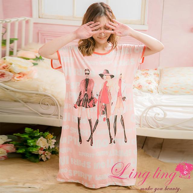 lingling A4035全尺碼-時尚女孩雙面塗鴉造型牛奶絲短袖連身睡衣(女孩桔)