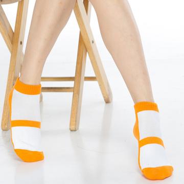 【KEROPPA】可諾帕細針毛巾底氣墊束底女短襪x4雙C91002 E橘配白