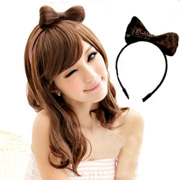 蝴蝶結髮箍假髮