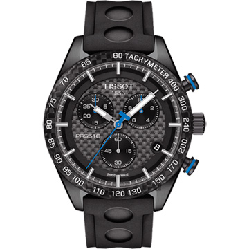 TISSOT 天梭 PRS 516 賽車元素計時腕錶 黑x橡膠錶帶 42mm T1004173720100