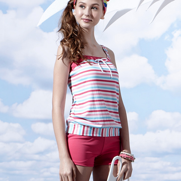 沙兒斯 橫紋蝴蝶結二截式女泳裝 B92658-07