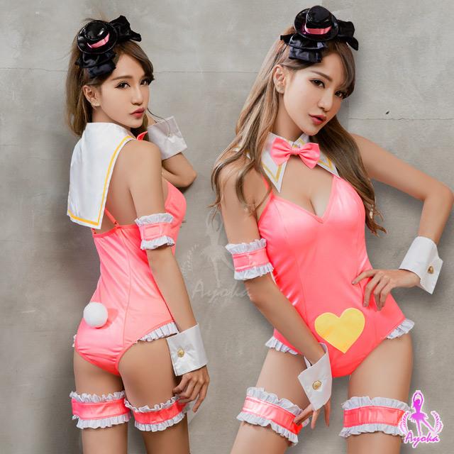 【Ayoka】角色扮演 螢光粉連身衣女僕角色扮演服九件組