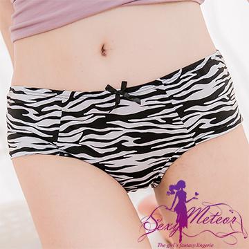 Sexy Meteor A2464大尺碼-個性斑馬紋蝶結中低腰三角內褲(個性黑白)