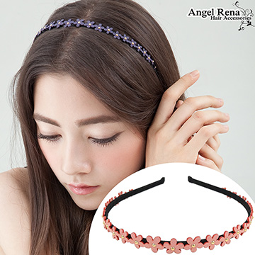 【Angel Rena】花朵麂皮亮珠髮箍-粉紅