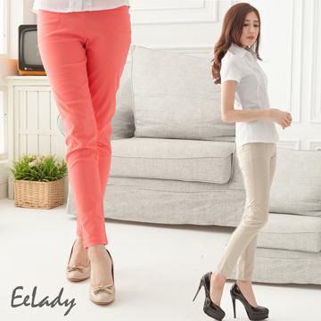 【EE-LADY】鬆緊褲頭亮鑽口袋拉鍊窄管褲