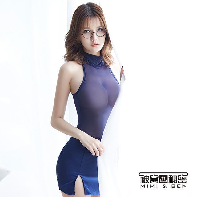 被窩的秘密 時尚透視魅惑秘書角色扮演服。藍色