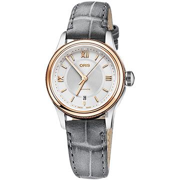 ORIS 豪利時 Classic Date 都會時尚機械女錶-銀x玫塊金框/28.5mm 0156177184371-0751433