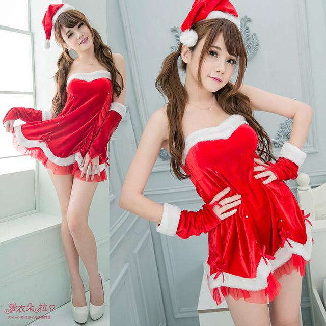 聖誕裝 露肩平口洋裝 寬鬆腰身連身裙+袖套+聖誕帽-愛衣朵拉K058
