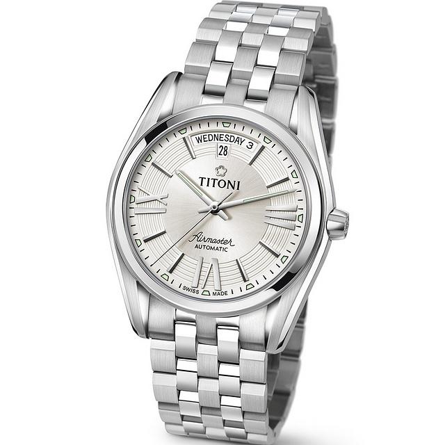 【TITONI瑞士梅花錶】空中霸王系列 白色錶盤/銀色不鏽鋼鍊帶-40mm(93909 S-342)