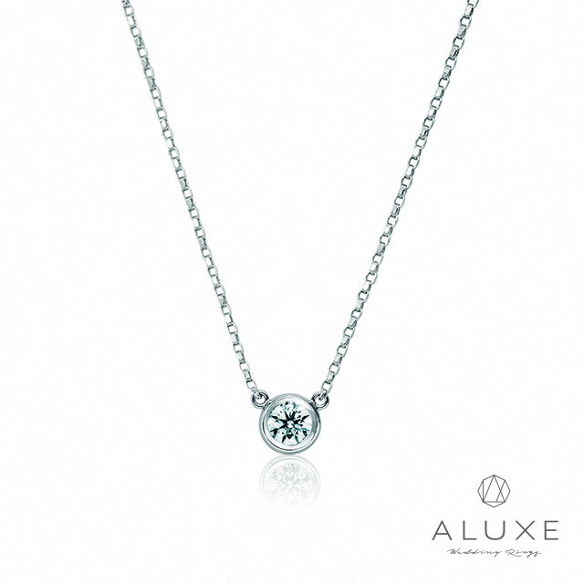【ALUXE 亞立詩鑽石】經典單鑽包鑲 美鑽項鍊