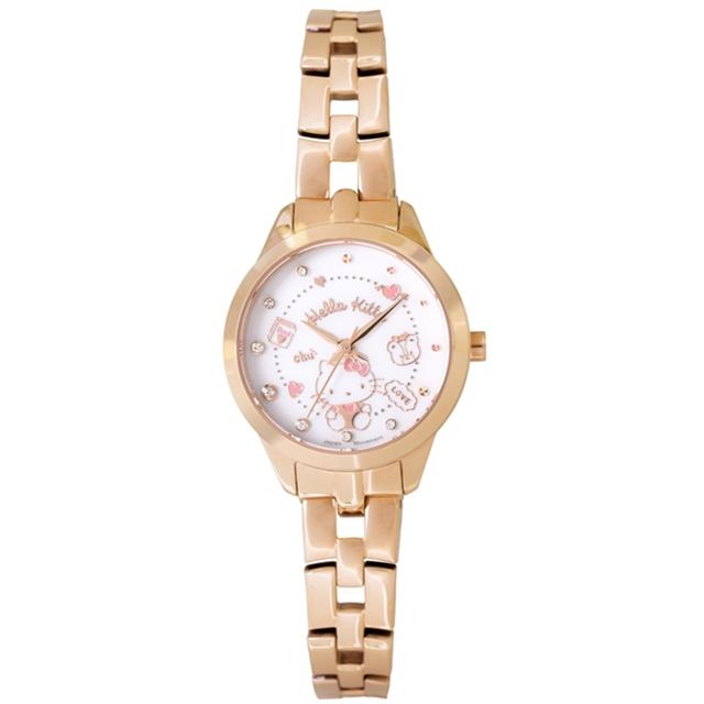 【HELLO KITTY】凱蒂貓 微甜繽紛手錶(白/玫瑰金/粉 LK707LRWS-P)