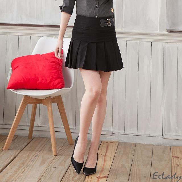【EE-LADY】OL〞側邊飾皮帶扣環百摺短裙(黑)