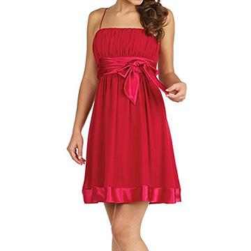『摩達客』美國進口Landmark細肩帶深桃紅漸層浪漫百褶紗裙派對小禮服/洋裝(含禮盒)
