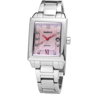 Audrey 歐德利 都會佳人 珍珠貝晶鑽女錶 粉x紅時標 25mm AUB5658