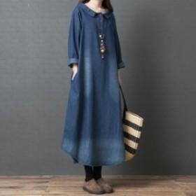 ワンピース レディース デニムスカート ゆったり 体型カバー 大きいサイズ 着痩せ ロングワンピース おしゃれ 韓国スタイル  20代30代40