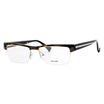 POLICE 義大利警察魅力商務男士下無邊半框光學眼鏡(玳瑁) POV1769-091K
