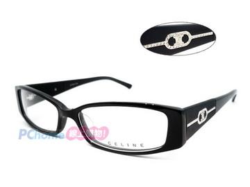 CELINE - 時尚光學眼鏡  精緻水鑽logo設計 VC1674S 黑