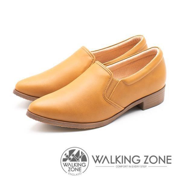 WALKING ZONE 真皮素面尖頭舒適低跟鞋 女鞋 棕 A55-912234-79