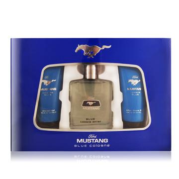 FORD MUSTANG 福特野馬 藍調男性淡香水禮盒[淡香水100ml+沐浴膠100ml+鬍後水100ml]-公司貨