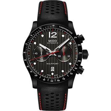 MIDO 美度 Multifort先鋒動力60賽車風計時機械腕錶 黑 44mm M0256273606100