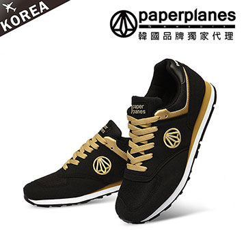 【PAPERPLANES韓國休閒鞋】正韓製復古男女款撞色品牌運動鞋(79001336黑金)